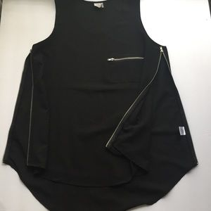 Paper Crane Sleeveless Blouse Black With Zip Sides